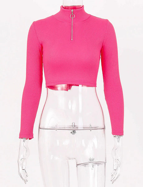 Neon Pink Ribbed Turtle Neck Top