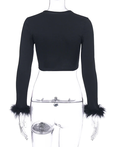 Black Feathers Tied Up Crop Top