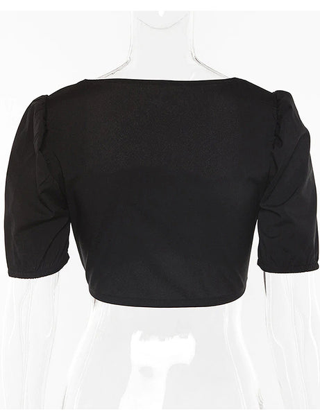 Carla Black Hook and Eye Crop Top