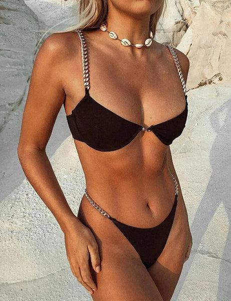 Black Gold Chain Love Two Piece Swimsuit