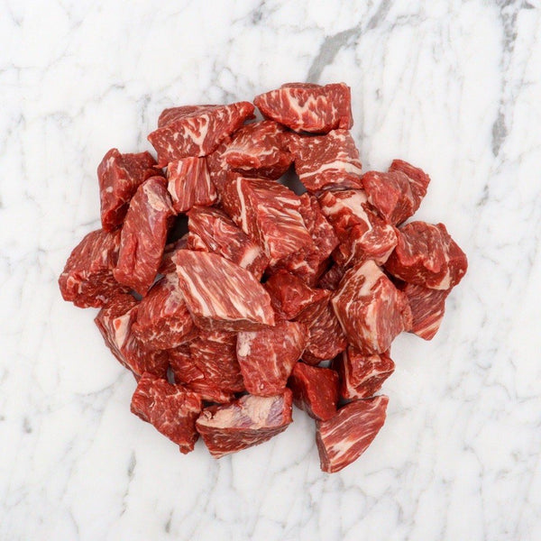 Beef Tri-tip Diced Marble Score 3+ Black Onyx Rangers Valley - 750g Vic's Meat