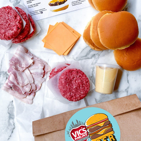 B.Y.O.B - BUILD YOUR OWN BURGER Kit Items Individually Packed Vic's Meat