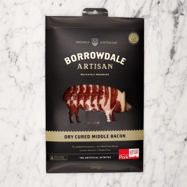 Dry Cured Middle Bacon Borrowdale Free Range - 200g Original Packaging from Manufacturer Vics Meat