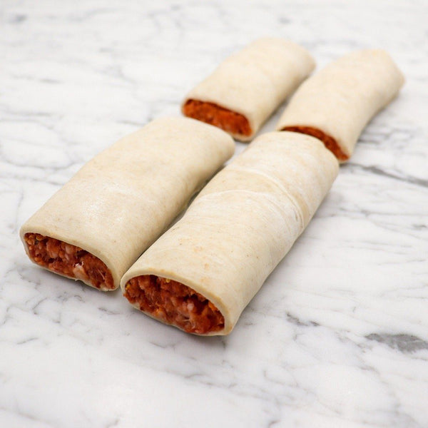 Lamb Merguez Sausage Rolls 125g x 4 Pieces Map 60mm Vics Meat