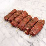 Lamb Rump Skewers Free Range Marinated Greek style - 150g x 6 Pieces Map 80mm Vics Meat