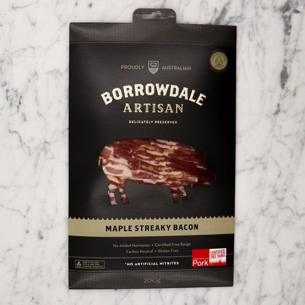Maple Streaky Bacon Borrowdale Free Range - 200g Original Packaging from Manufacturer Vics Meat