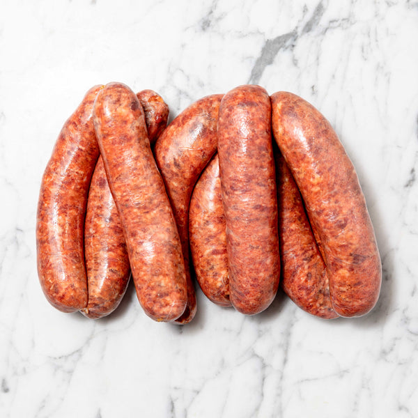 Thick Tomato & Onion BBQ Sausages - 1kg Map 80mm Vics Meat
