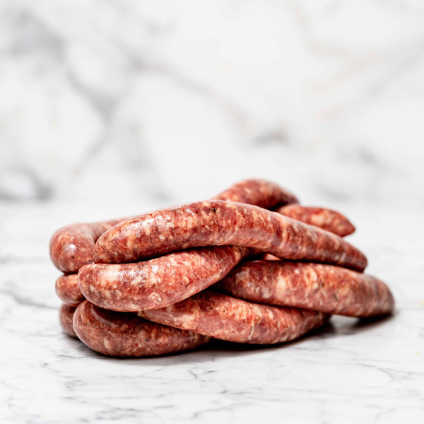Thin Mint & Rosemary Sausages - 1kg Map 80mm Vics Meat
