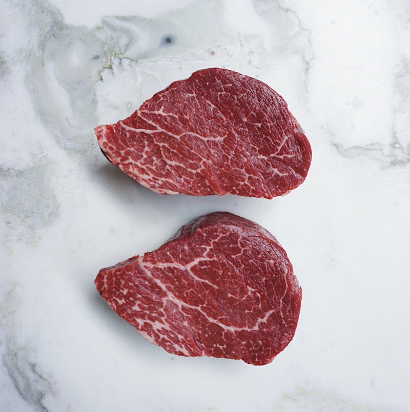 Wagyu Eye Fillet Steak Centre Cut Rangers Valley Marble Score 5+ 220g x 2 Pieces Map 80mm Vic's Meat