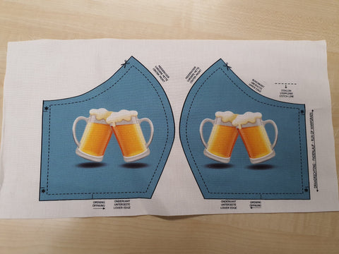 Digital Print Cotton Mask Panel - Beer