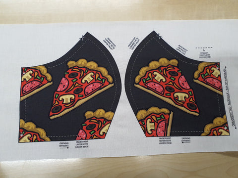 Digital Print Cotton Mask Panel - Pizza Grey