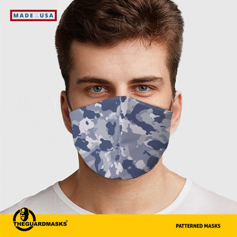 Blue Camo Face Cover - Made in U.S.A - Fast Shipping