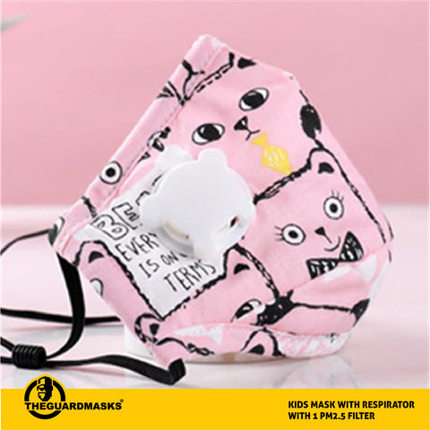 Pink - Kids Mask With Respirator With 1 PM2.5 Filter - Fast Shipping
