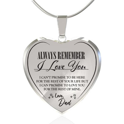 Image of Always Be There (Love Dad) Heart Necklace