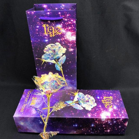 Image of Galaxy Rose with Love Base Anniversary Gift - full