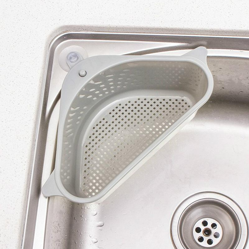 Triangular Sink Drain Shelf Sink Drain Shelf Multi-Purpose Basket - full