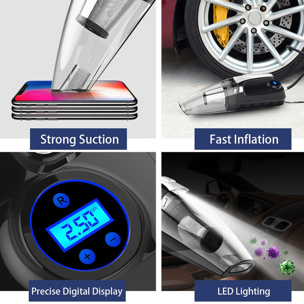 Powerful Vacuum Cleaner and Air Compressor Tire Inflator with LED Light - full