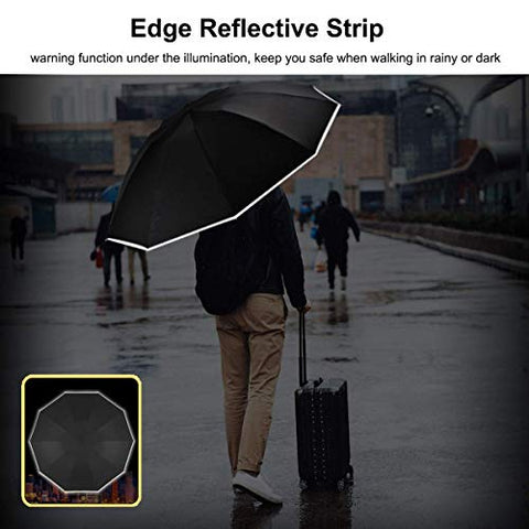 Image of UUstar Inverted Umbrella with Reflective Stripe Windproof Automatic Folding Umbrella Portable Reverse Umbrella Rain&Sun Travel (Black)
