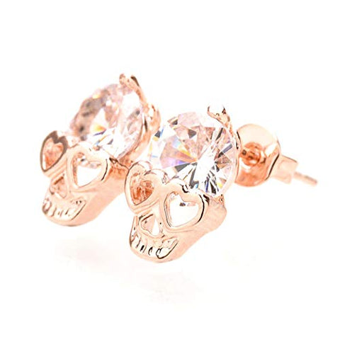 Image of Skull Studs,Diamond Skull Pierced Stud Earrings