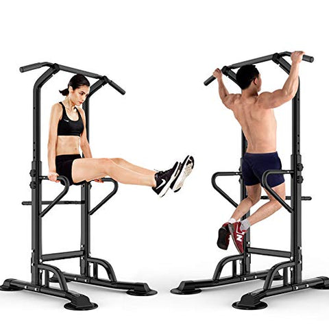 Image of Workout Station Power Tower Adjustable Height Pull Up & Dip Station Multi-Function Home Strength Training Fitness