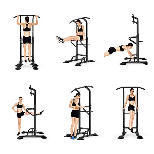 Workout Station Power Tower Adjustable Height Pull Up & Dip Station Multi-Function Home Strength Training Fitness