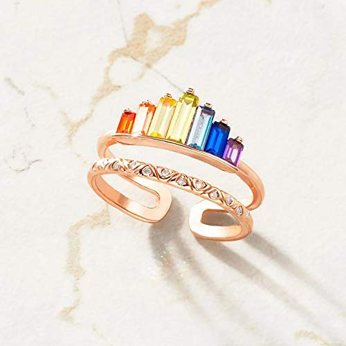 Double Band Ring, Rainbow Ring Double Band, Wide Band Stacking Rainbow Rings
