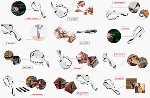Image of Key Shaped Pocket Tool,24 in 1 Multifunctional Tool