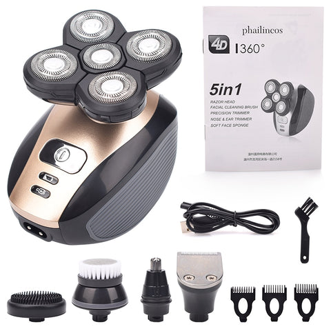 Image of 5 In 1 Head Shavers, Skull Shaver,  Facial Brush
