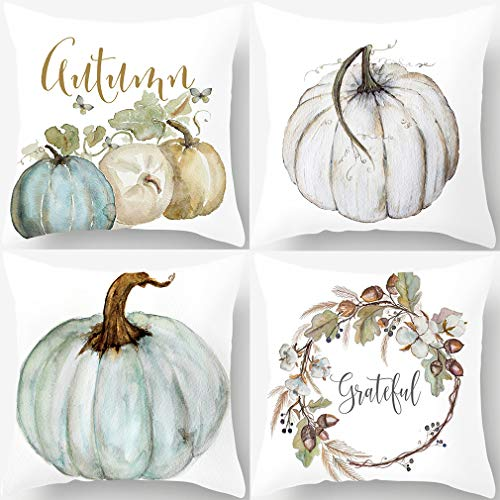 Autumn Decorations Pumpkin Pillow Covers Set of 4 Fall Decor Grateful Thanksgiving Throw Pillow Covers Cushion Cover 18 X 18