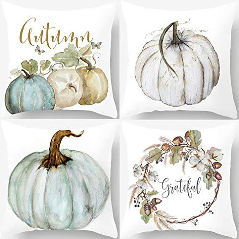 Image of Autumn Decorations Pumpkin Pillow Covers Set of 4 Fall Decor Grateful Thanksgiving Throw Pillow Covers Cushion Cover 18 X 18