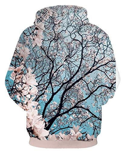 Cherry Blossom Hoodie 3D Digital Print Pullover Hoodie American Hooded with Big Pockets