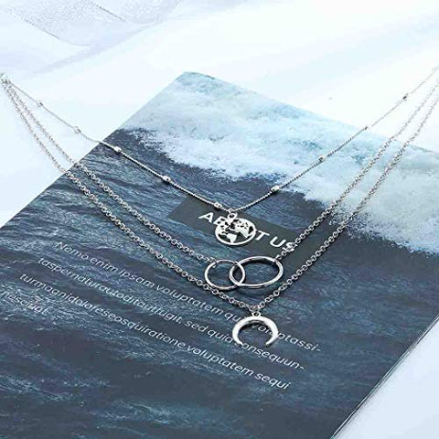 Image of Layered Silver Necklace,Silver Moon