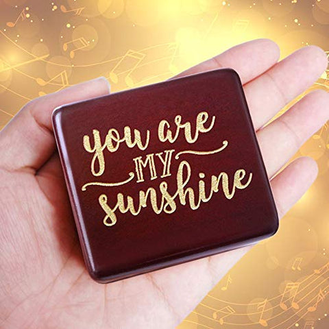 Image of You are My Sunshine Music Box Wine red Wood Gift for Christmas, Birthday