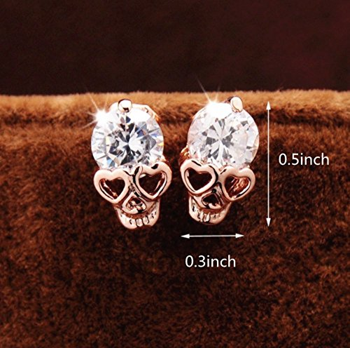 Skull Studs,Diamond Skull Pierced Stud Earrings