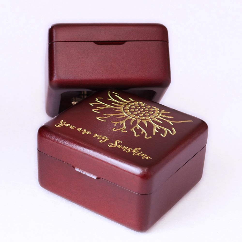 You are My Sunshine Music Box Wine red Wood Gift for Christmas, Birthday