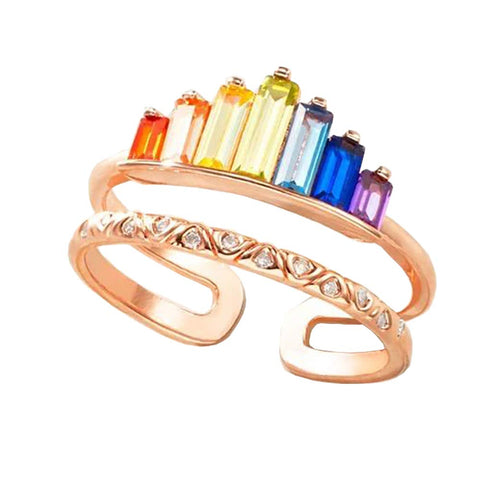 Image of Double Band Ring, Rainbow Ring Double Band, Wide Band Stacking Rainbow Rings