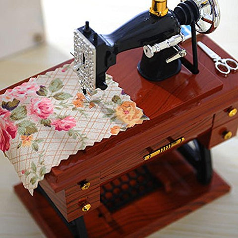 Image of Sewing Machine Music Box Mechanical Birthday Gift Table Decor