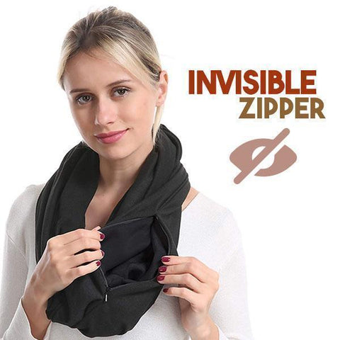 Image of Pocket Scarf Convertible Scarf With Zipper Pocket - full
