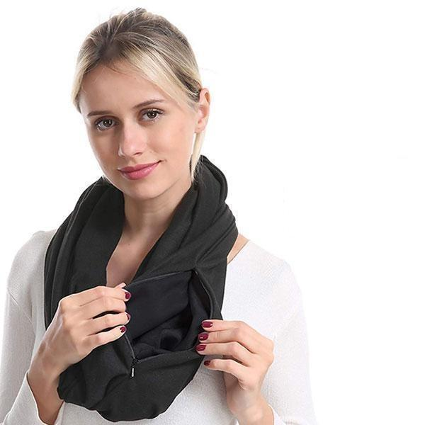 Pocket Scarf Convertible Scarf With Zipper Pocket - full
