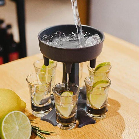 Image of Shot Glass Dispenser Stand Rack With 6 Shot Glasses