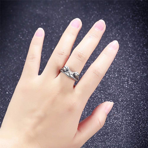 Image of Frog Ring Real Sterling Silver Frog Open Rings for Women Vintage Cute Animal Finger Ring