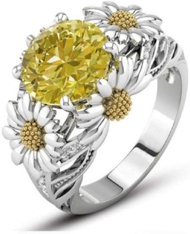Image of Flower Engagement Ring,Daisy Ring|Gemstones Ring