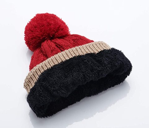 Image of Beanie Knit Hat, Flaps Hat|Pom Cap|Fleece Lined