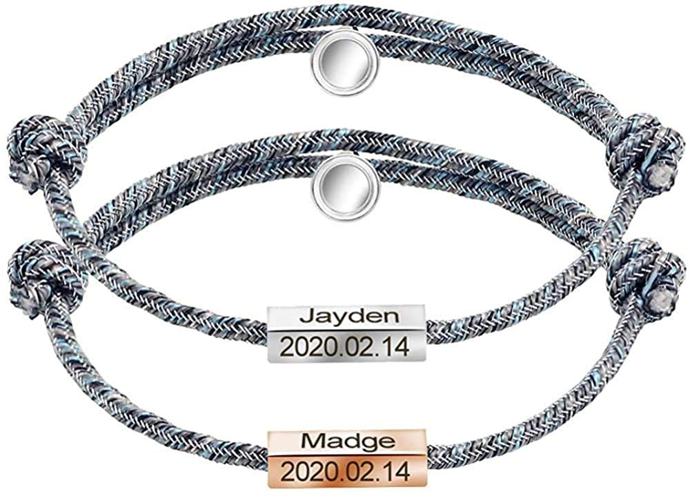 Matching Bracelets For Couples Custom Engraved Magnetic 2Pcs