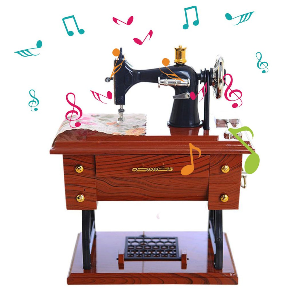 Sewing Machine Music Box Mechanical Birthday Gift Table Decor