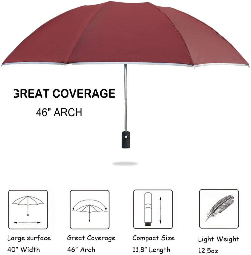 UUstar Inverted Umbrella with Reflective Stripe Windproof Automatic Folding Umbrella Portable Reverse Umbrella Rain&Sun Travel (Black)