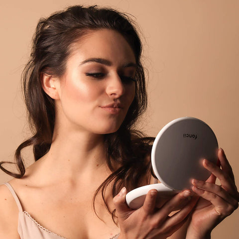 Image of mirror with LED, Travel Makeup Mirror|Hand-held,Fold Mirrors