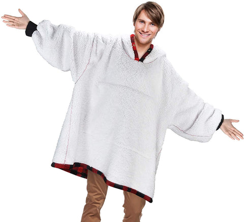 Image of Oversized Blanket Sweatshirt, Blanket Hoodie,Sherpa Lined Hoodies