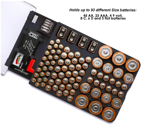 Image of Battery storage Organizer Includes a Removable  Battery Tester