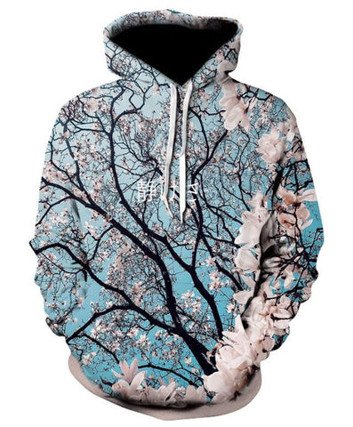 Image of Cherry Blossom Hoodie 3D Digital Print Pullover Hoodie American Hooded with Big Pockets